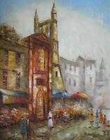 "Vintage Mid-Century René Caron Paris Street Scene Signed Oil Painting 22"" x 28"""