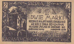 2 MARKI NAZI CONCENTRATION CAMP NOTE FROM PRUSSIA/POLAND/WOLDENBERG 1944 RAR