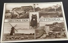 Greetings From Rottingdean Postcard Uk Black Cat Wardell's Windmill Sussex 1957