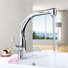 Waterfall 360°Swivel Bathroom/Kitchen Chrome Single Handle Basin Sink Faucet Tap