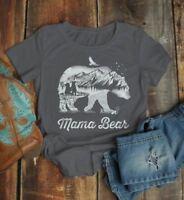Women's Mama Bear T Shirt Mom T Shirts Hipster Double Exposure Camping Shirts