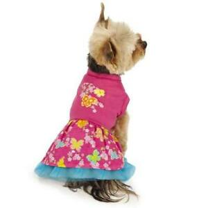 Small SPRING DOG DRESS Pink Butterfly Print Charming & Stylish Blue Tule Skirt