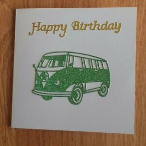 Glitter Green Camper Van birthday card by Sarah Sample Art