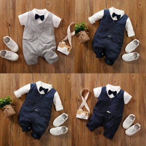 Baby Boy Occasion Pinstripe Navy Grey Suit Bow Tie Christening Wedding Clothes