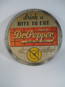 Coca-Cola 1940s Double Sided Dr Pepper Cardboard Round Sign Good for Life 10 2 4