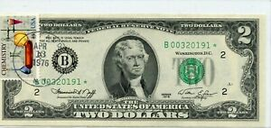1976- STAR- $2 TWO DOLLAR Bicentennial Note With Postal Stamp UNCIRCULATED  0191