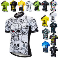 Men Cycling Jersey Skull Bicycle Short Sleeve Quick Dry Riding Bike Shirt Tops