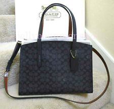COACH 31210 SIGNATURE CHARLIE CARRYALL CROSSBODY BAG Charcoal Midnight Blue NEW