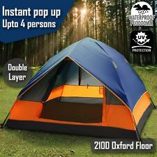 Double Layer Pop Up Camping Tent Up to 4 Person Outdoor Waterproof Shelter Blue