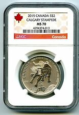 2015 $2 CANADA 1/2 OZ SILVER CALGARY STAMPEDE NGC MS70 RED LABEL .9999 TOP POP