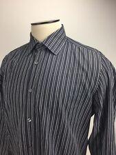 Hugo Boss Mens Shirt Black White and Gray Striped  Size Large