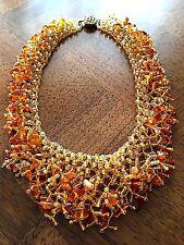 Vintage Orange Baltic Amber chips beads Necklace.