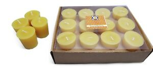 12 Natural Honey Scented 100 Percent  Beeswax Votives, Votive Candles, 12 Hour