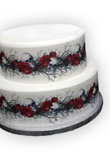 A4 Edible Decor Icing Sheet Halloween Skull & Rose Ribbon Border- larger cakes