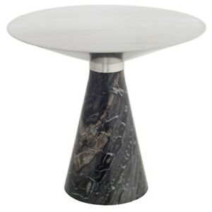 "19.8"" W Side Table Brushed Stainless Steel Conical Top Wood Veined Marble Base"