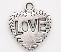 10/100PC Tibetan silver Crafts Jewelry Making LOVE Heart Charms Pendants 21*18mm
