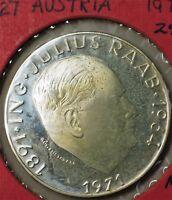 1971 Austria 50 Schillings Julius Raab Silver Proof Coin