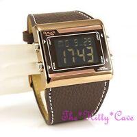 OMAX Chronograph Brown Steel Seiko Digital LCD Leather Sports Alarm Watch OAS083