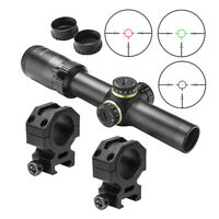 NcSTAR STR 1-6X24 Glass Etched 30mm Rifle Scope + Mounts fits Picatinny Rails