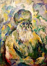 PIOUS HASSIDIC RABBI Judaica IMPRESSIONIST Original PAINTING By Ari Roussimoff