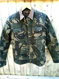 ALLSAINTS MENS KHAKI CAMOUFLAGE PRINT QUILTED JACKET SIZE XS