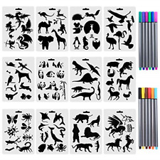 Set of 12 Animal Stencils with 12 Colored Fineliner Pens, Plastic Drawing