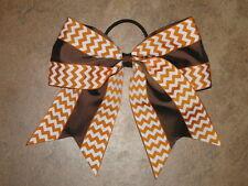 "NEW ""Double Thanksgiving Chevron"" Cheer Bow Pony Tail Ribbon Hair Cheerleading"