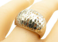 925 Sterling Silver - Vintage Hammered Texture Dome Band Ring Sz 8 - R12267