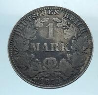 1875 G GERMANY KING WILHELM I & Wreath Genuine Antique Silver 1 Mark Coin i77754