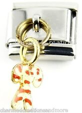 Christmas Candy Cane Holiday 9mm Italian Charm Stainless Modular Dangle Link