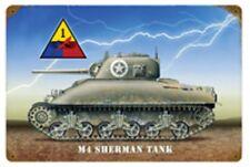 "M4 Sherman Tank  17"" X 11"" Metal Sign"