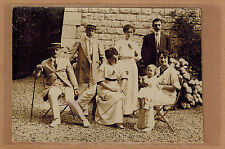 Carte Photo vintage card RPPC famille bourgeoise costume robe mode kh0144