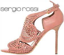 SUPPER BEAUTIFUL!!! Sergio Rossi  LASER CUT NUDE LEATHER SANDALS EU 40 US 10