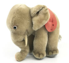 Steiff Elephant Mohair Plush 17cm 7in Felt Saddle Plastic Tusks 1960s noID Faded
