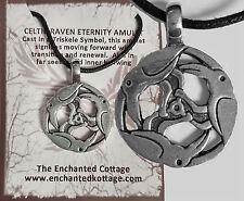 Amulet CELTIC RAVEN TRISKELE Silver Pewter Animal Spirit Guide Totem Wicca Pagan