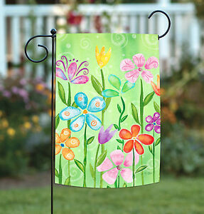 Toland Spring Blooms 12.5 x 18 Colorful Flower Artistic Swirl Garden Flag