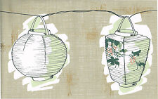 Taupe Beige Oriental Asian Green Bamboo Leaf Grape Vine Lantern Wallpaper Border