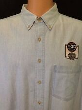 Miller Genuine Draft MGD Harley Davidson Logo Men's Blue Oxford Work Shirt XL