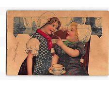 ST989: 2 BEAUTIFUL CHILDREN ENJOYING FRIENDSHIP. PFB EMB Chromo Postcard 1909 PM