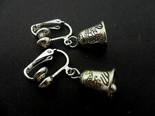 Dangly Bell Themed Clip On Earrings. New. A Pair Of Pretty Little Tibetan Silver