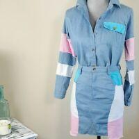 Womens Retro Denim Patchwork Skirt n Button Front Shirt Set Size Large