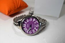 Glam Rock Womens Miami Beach Art Deco Purple Dial Stainless Steel Watch MBD27136