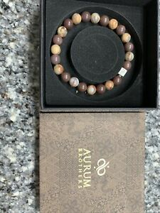 Aurum Brothers Men's Bracelet 6 mm Stones Beautiful / Limited Edition. NEW