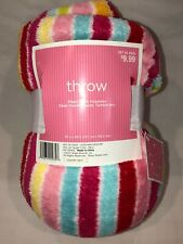 """Super Soft Polyester Striped Throw 50"""" X 60"""" NWT"""