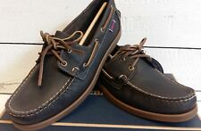 Men's Sebago B720370 Docksides Dark Olive Leather Lace Up Deck Shoes