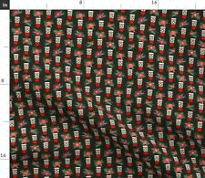 Coffee Peppermint Christmas Holiday Xmas Fabric Printed by Spoonflower BTY