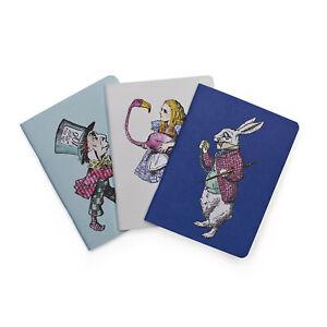 Pocket Notebook Set - Alice in Wonderland, White Rabbit, Mad Hatter - New
