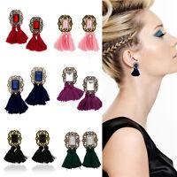 Women Statement Earrings Jewelry Utility Shiny Rhinestone Tassel Dangle Ear Stud