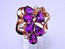 Genuine Amethyst Cluster Ring, Solid 14-kt Gold setting, Size 6.75 (#1433)