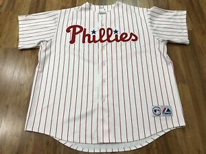 MENS 2XL - Vtg Philadelphia Phillies #26 Utley Majestic Embroidered Sewn Jersey